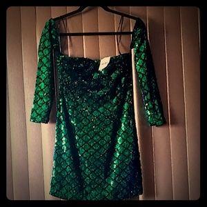 Glamorous turquoise sequin dress